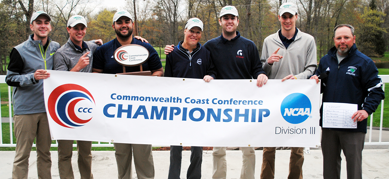 The Endicott men's golf team poses for a team photo after winning the CCC Championship.