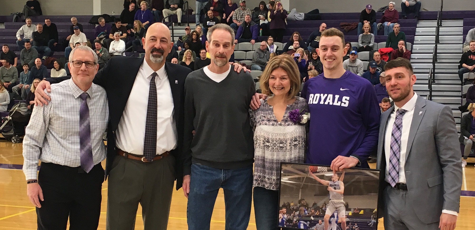 Senior Jack Connelly was honored prior to Saturday's win over Juniata that clinched a Landmark Conference playoff berth for the Royals.