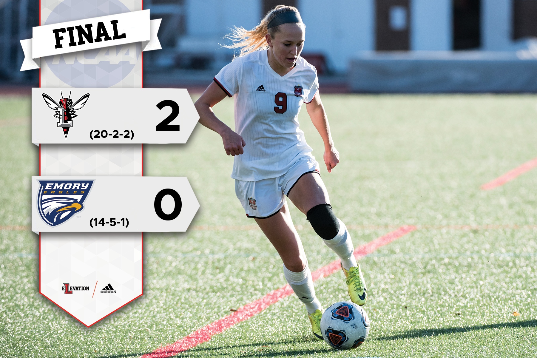 Alyssa Rudy dribbles the soccer ball. Graphic on left showing 2-0 final score and team logos.