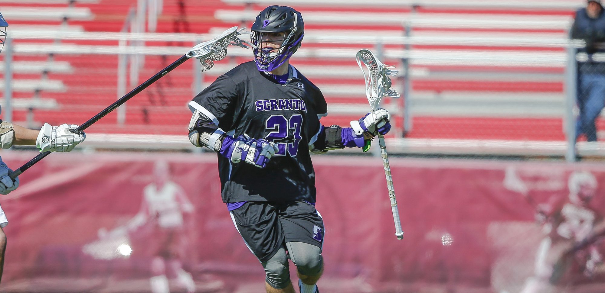 Senior attackman Jake Haimson had three goals and two assists in the win over SUNY Potsdam on Tuesday.