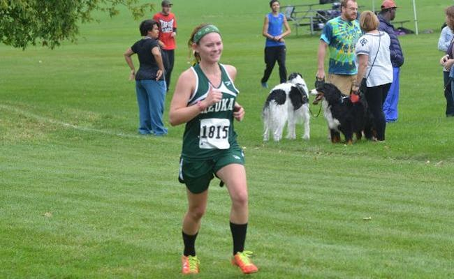 Freshman Chelsea Cooper logged a fifth-place finish as all five Keuka College scoring runners set persona-best 5K times during Saturday's annual Houghton College Highlander Invitational.