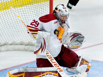 Goaltender Taylor Nelson and the Bulldogs are listed in two national college hockey polls this week. (Photo by Ed Hyde)
