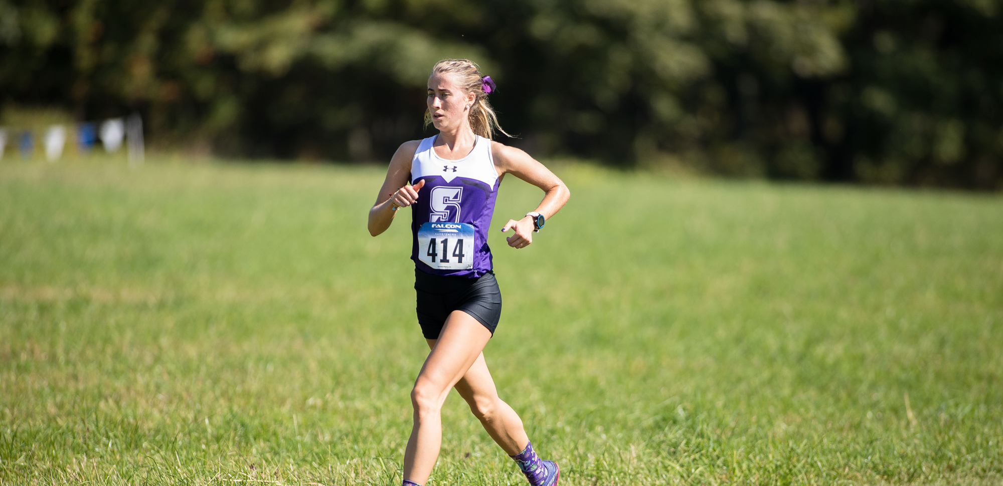 Freshman Abigail Corrigan won the Landmark Conference championship on Saturday in Huntingdon, Pa.