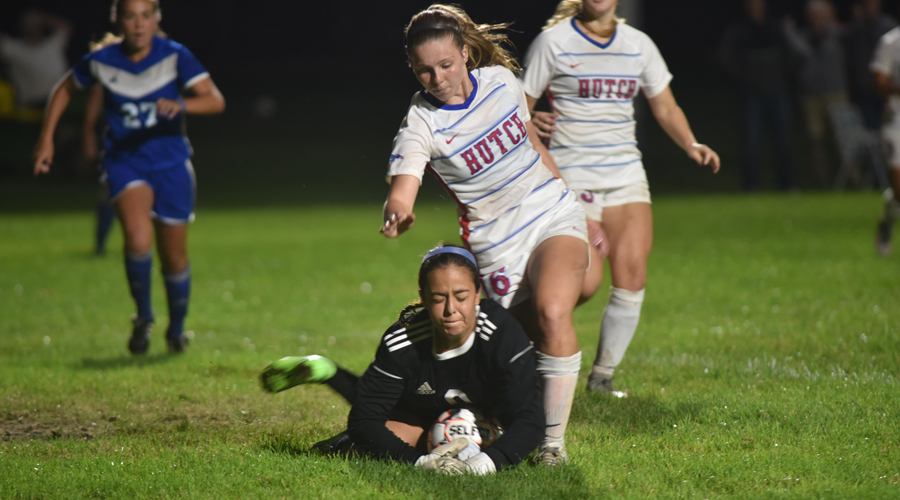 Brailey Moeder had a goal and an assist in Hutchinson's 3-3 draw with Barton on Saturday night at the Salthawk Sports Complex. (Casey Bailey/Blue Dragon Sports Information)