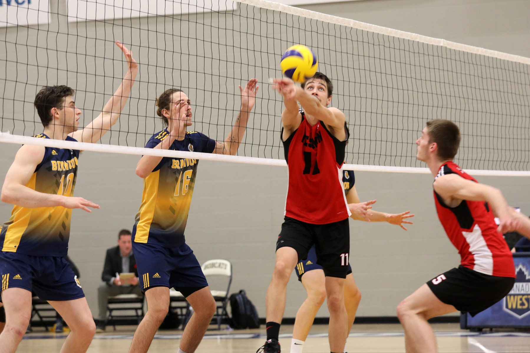 Mikael Clegg (centre) bumps a set in front of teammate Keegan Teetaert during the Wesmen loss to the Brandon Bobcats in Brandon, Man., on Thursday, Nov. 7, 2019. (Milana Paddock/Bobcat Athletics)