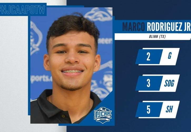 Blinn's Marco Rodriguez Jr. Named NJCAA Men's Soccer Player Of The Week