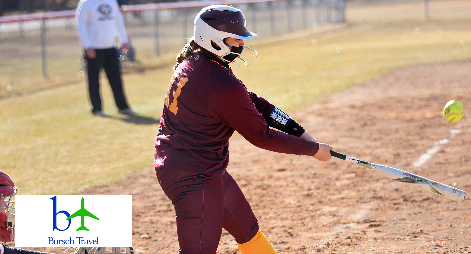 Junior Val Kolstad connects on a pitch and sends it to the left field fence for a double in the Cobbers' 19-10 win over MSU Moorhead in Game 1 of the DH.