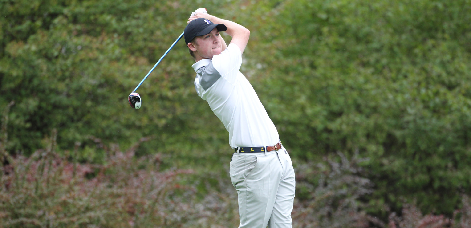 Sophomore Thomas McAuliffe led Scranton with a 79 on Saturday in the final round of the Landmark Conference Championships. © Photo by Timothy R. Dougherty / doubleeaglephotography.com