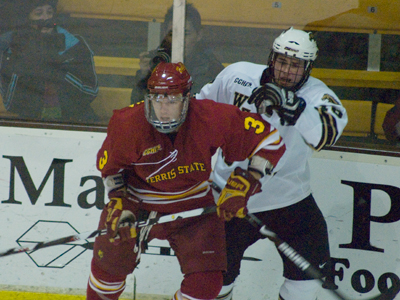 Scott Wietecha and  the  sixth-ranked Ferris State hockey team highlighted in recent Detroit Free Press story.  (Photo by Joe Gorby)