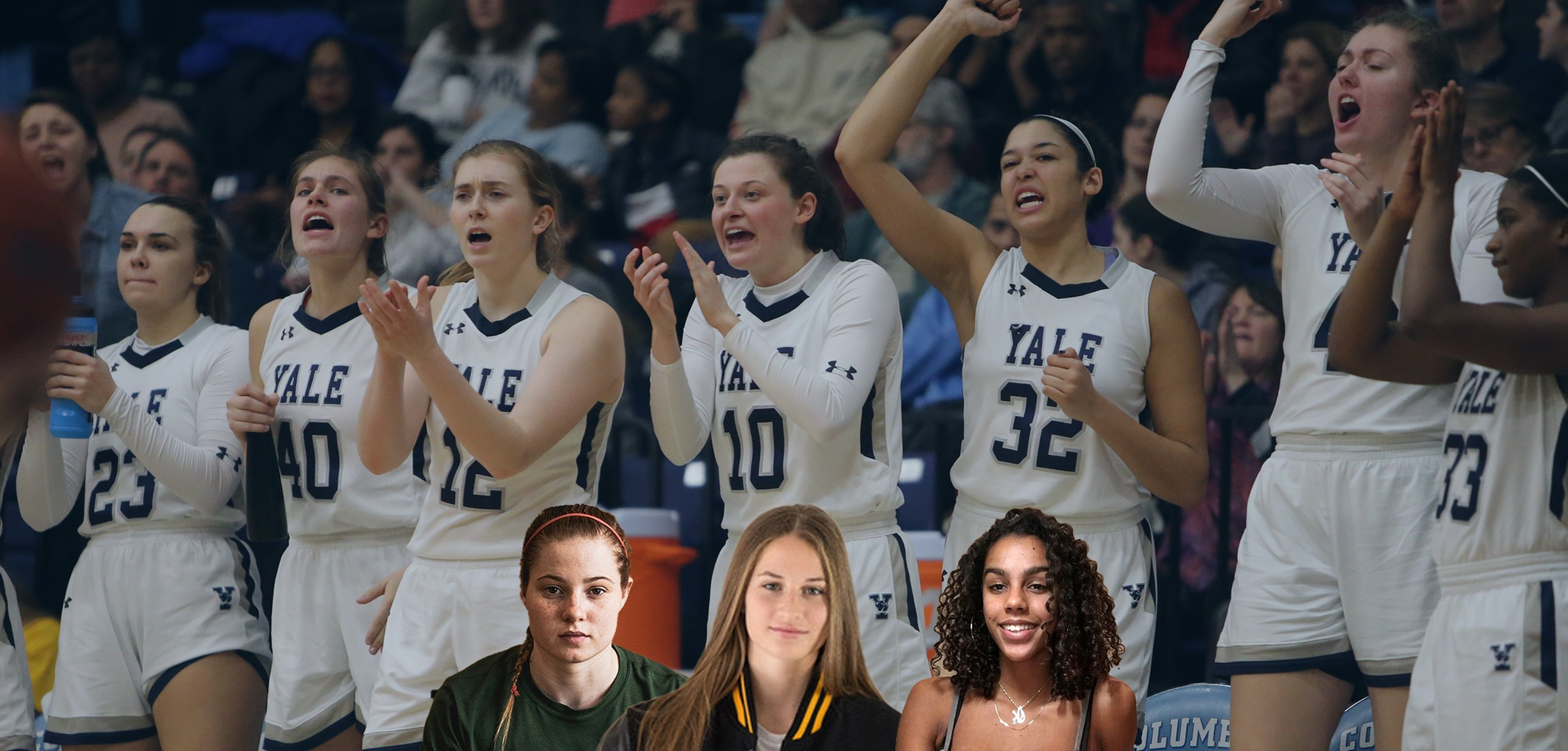 The Yale Women's Basketball Class of 2023: Klara Astrom, Jenna Clark and Ayla Elam.