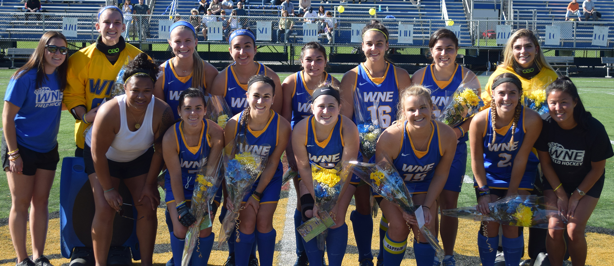 Western New England honored its 12 seniors prior to the start of Saturday's contest. (Photo by Rachael Margossian)