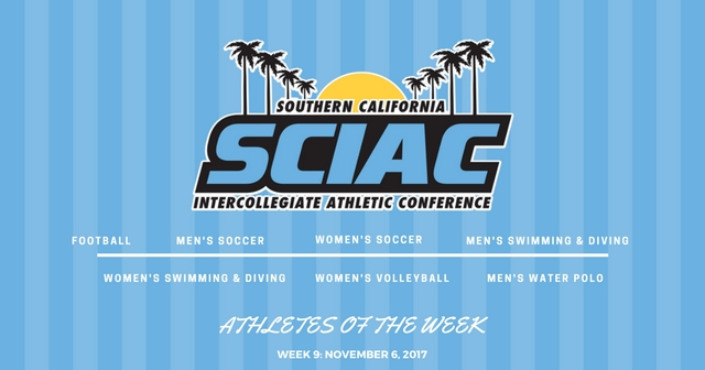 SCIAC Athletes of the Week: November 6, 2017
