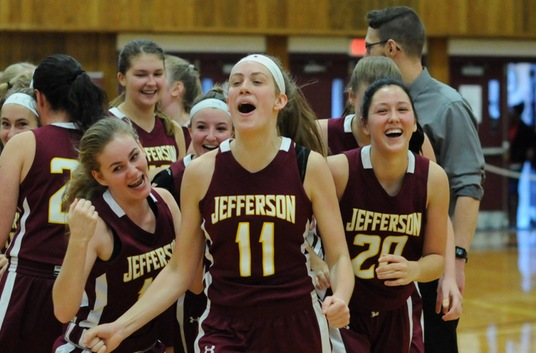 Jefferson Women's Basketball Team Celebration vs Hudson Valley