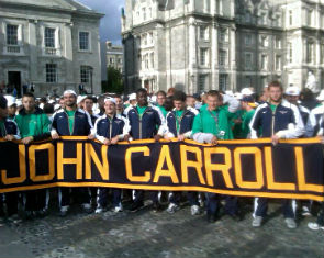 John Carroll at a rally at Trinity College in Dublin, Ireland