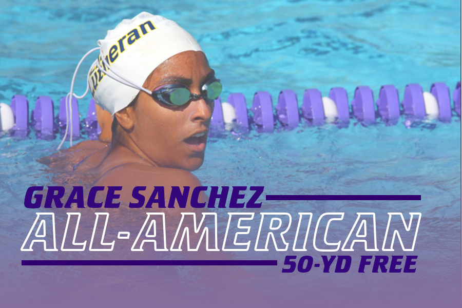 Grace Sanchez garners All-America status with a 10th-place finish in the 50-yard free.