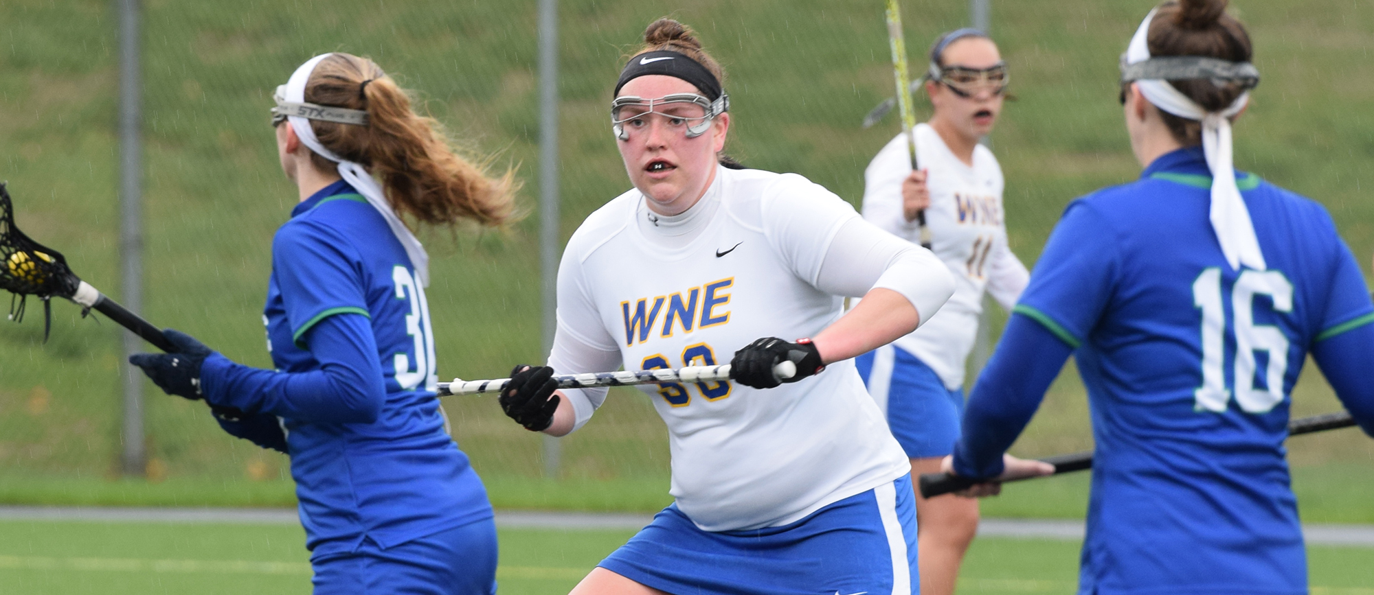 Sophomore Eileen Ruby helped fuel Western New England's late comeback as the Golden Bears earned a 12-11 win at Salve Regina on Saturday. (Photo by Rachael Margossian)