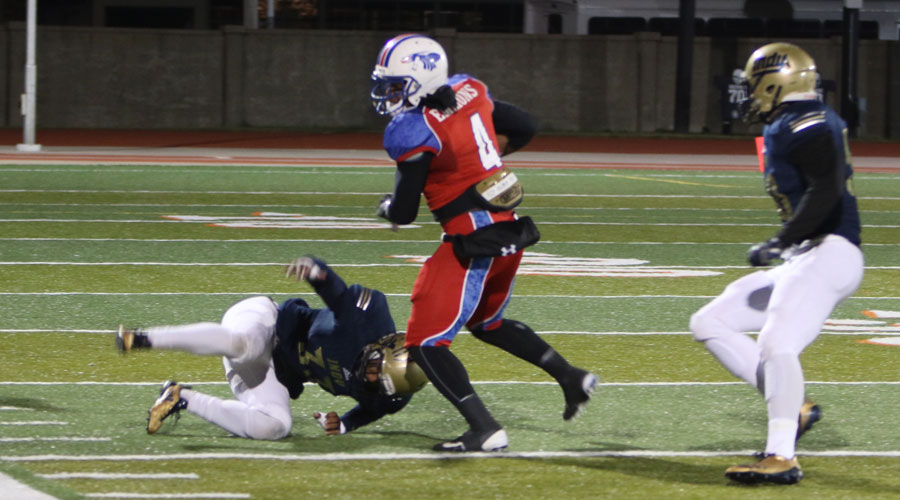Running back B.J. Emmons ran for more than 100 yards to lead the Blue Dragon offense, but Hutchinson fell to Independence 24-19 on Saturday in Independence. (Joel Powers/Blue Dragon Sports Information)