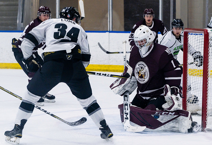 Marc-Olivier Daigle stops Red Deer's Donovan Lumb on the doorstep in a game against the Kings earlier this season. Daigle made 29 saves in a 3-0 loss to RDC on Friday afternoon in Sylvan Lake (Matthew Jacula photo).