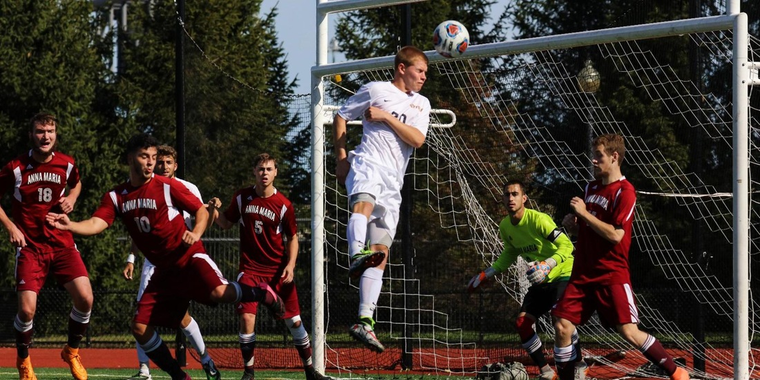 Hines' Header Sends Men's Soccer Past Lasell, 3-2, Secures GNAC Playoff Spot
