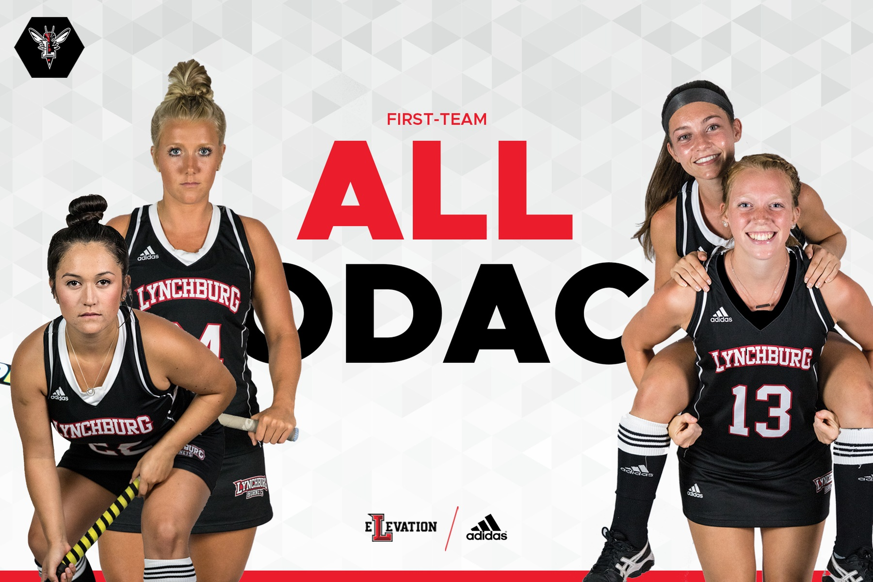 Cutout images of Lynchburg's four first-team all-conference players on white background. Text in red and black: First-team all-ODAC. Lynchburg and adidas logos at bottom.