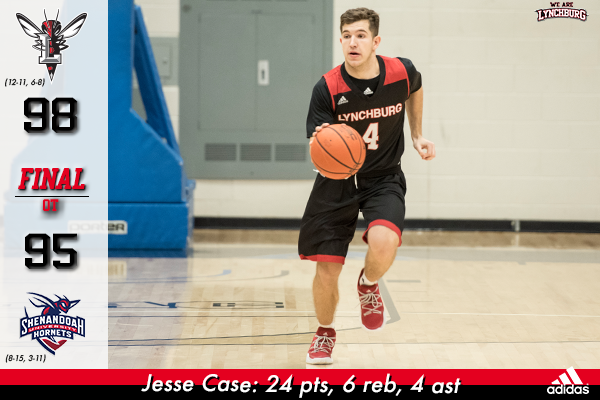 Jesse Case dribbles the basketball on the court.