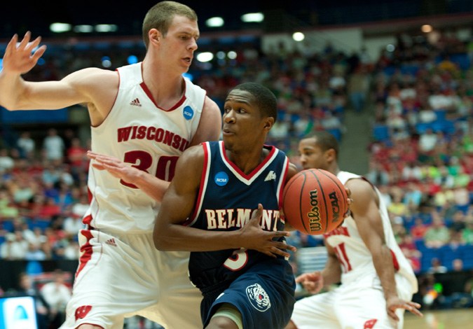 Sophomore Kerron Johnson drives on Jon Leuer