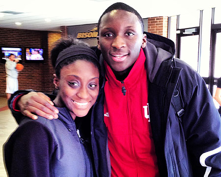 Indiana's Victor Oladipo and his sister Kendra, a student at Gallaudet
