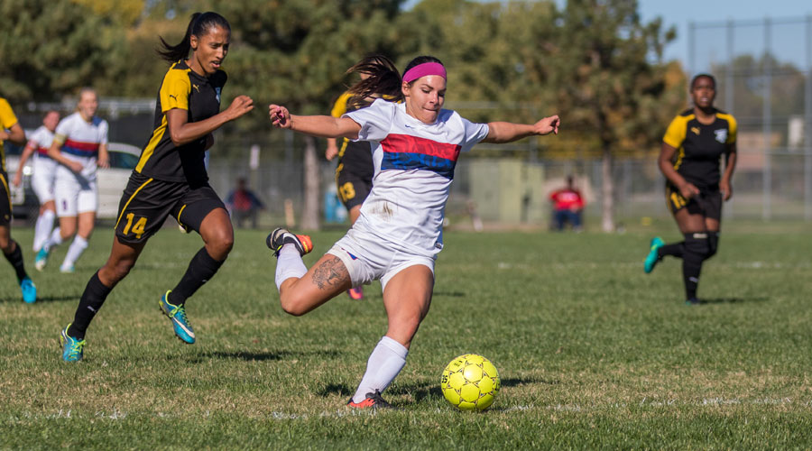 Miykayla Morsesco scored the game-tying goal in the second half on Sunday, but the Blue Dragons lost to Cloud County 3-2 in double overtime at the Salthawk Sports Complex. (Allie Schweizer/Blue Dragon Sports Information)