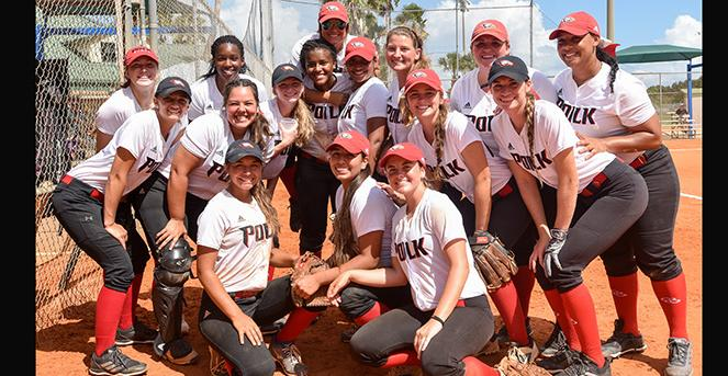 Polk State started the softball season by winning two of three games at the Kickoff Classic in Clearwater. (Photo by Tom Hagerty, Polk State.)