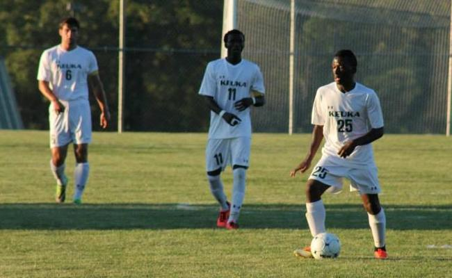 Freshman Romeo Katanga (No. 25) scored a goal, but the Keuka College men's soccer team fell at home to Alfred State 3-2 Saturday afternoon (photo courtesy of Rachel Parker, Keuka College Sports Information department).