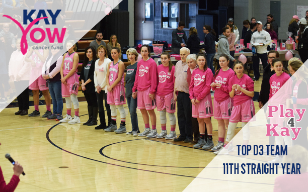 Moravian was named the top NCAA Division III school for the 11th straight year in fundraising for the 2019 Play4Kay to raise money for the Kay Yow Cancer Fund.