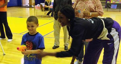 Local elementary visited by Golden Eagle women's basketball team