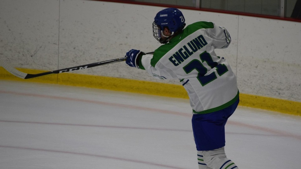Sage Englund scored his first career goal for the Seahawks to cap the night's scoring in a 5-0 victory.