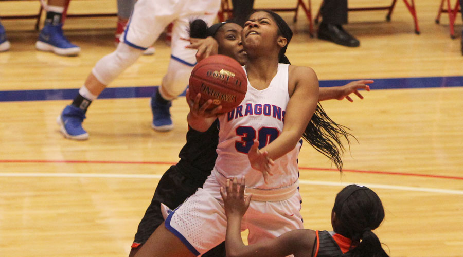 Kayla Barber scored a career-high 20 points to lead the 15th-ranked Blue Dragons last Neosho County 91-50 on Wednesday at the Sports Arena. (Joel Powers/Blue Dragon Sports Information)