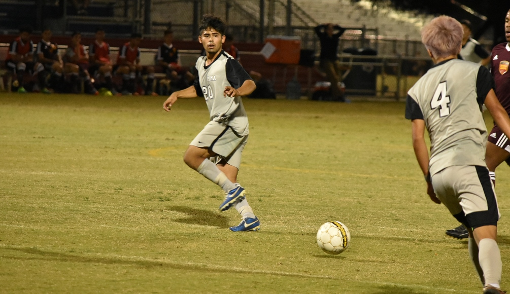 Sophomore Julian Gaona (Tucson HS) scored the eventual game-winning goal in No. 1 seeded Pims's 1-0 win over No. 4 Arizona Western College. The Aztecs will host No. 2 seeded Yavapai College on Saturday at Kino North Stadium. Photo by Ben Carbajal.