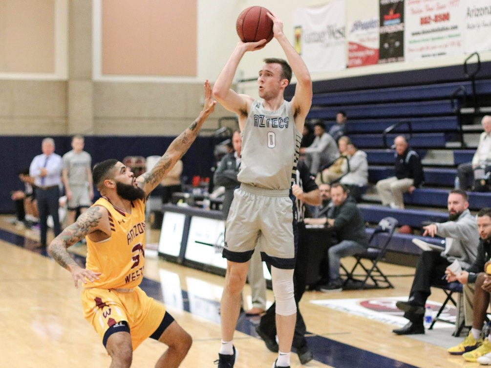 Freshman Jake Lieppert (Saguaro HS) scored a team-high 36 points after he went 12 for 19 from the field and 8 for 14 from three-point range in Pima's 127-80 win over North Idaho College; handing them their first loss of the season. The Aztecs are 8-4 overall on the season. Photo by Stephanie Van Latum