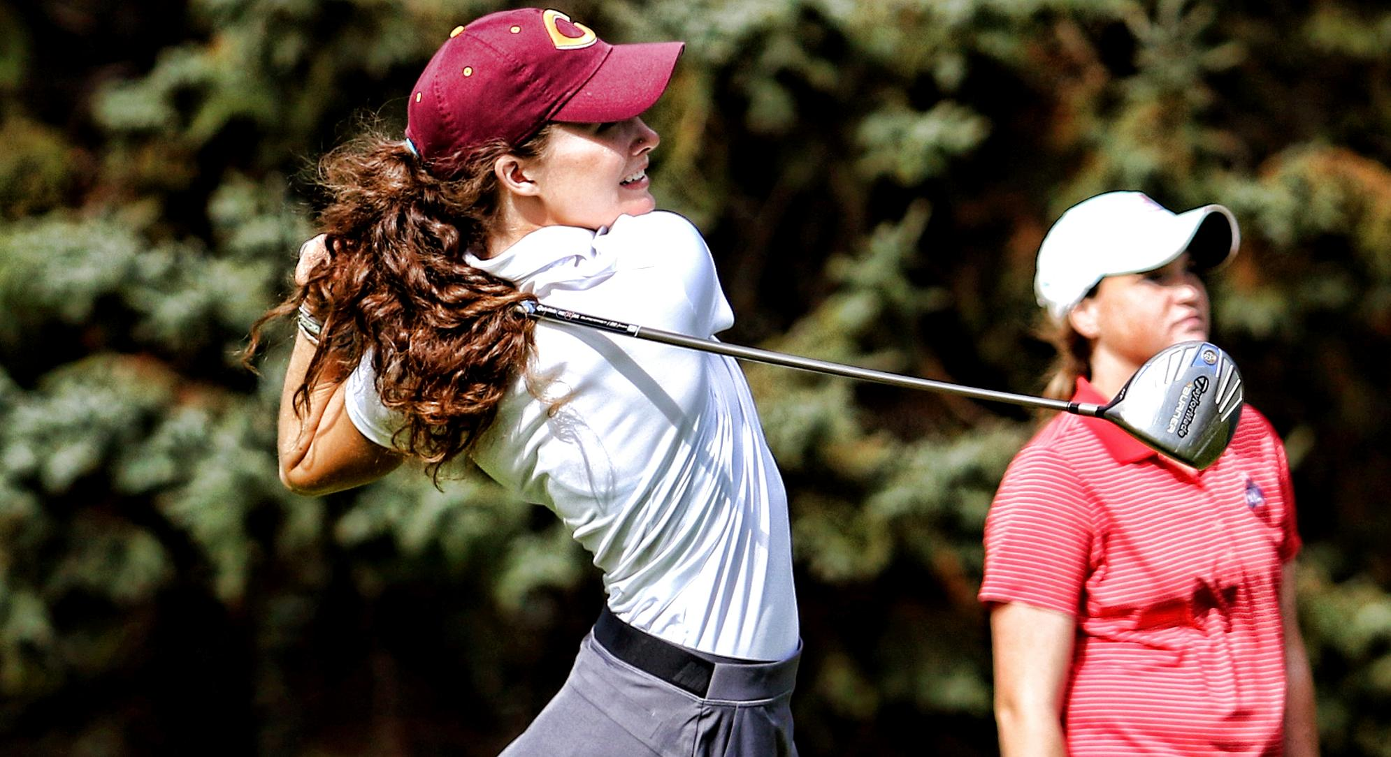 Senior Emily Grace Olson tees off during the third round at the MIAC Championship Meet. (Pic courtesy of Don Stoner - Augsburg Sports Information)