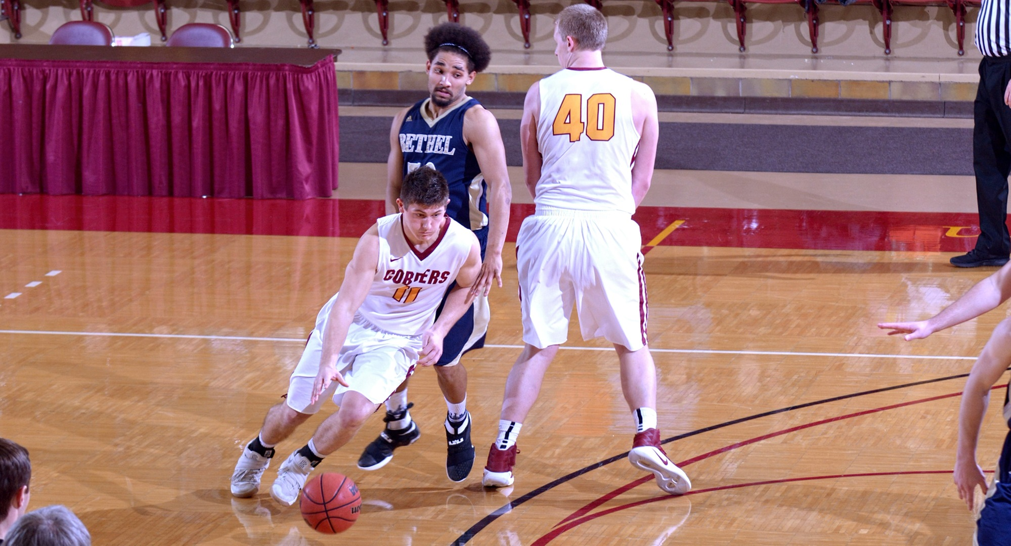 Senior Dylan Alderman scored a career-high 33 points in the Cobbers' final regular-season road game at Bethel.