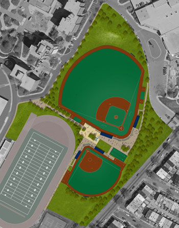 Aerial view of the new baseball and softball fields