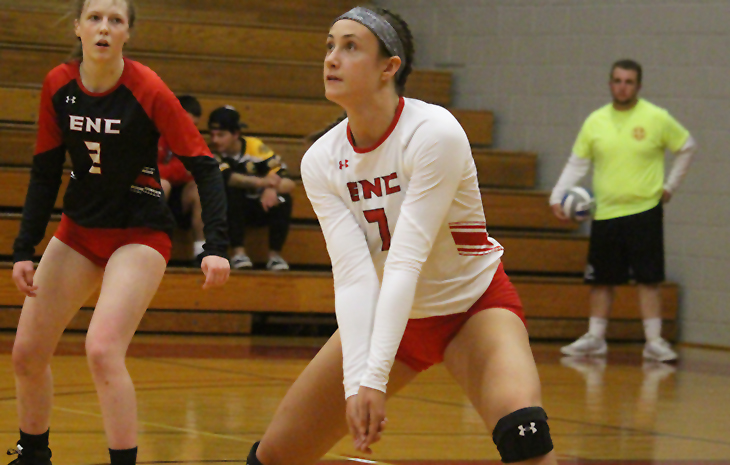 No. 1 Seed Women's Volleyball Rolls Past No. 8 Mitchell in NECC Quarterfinals