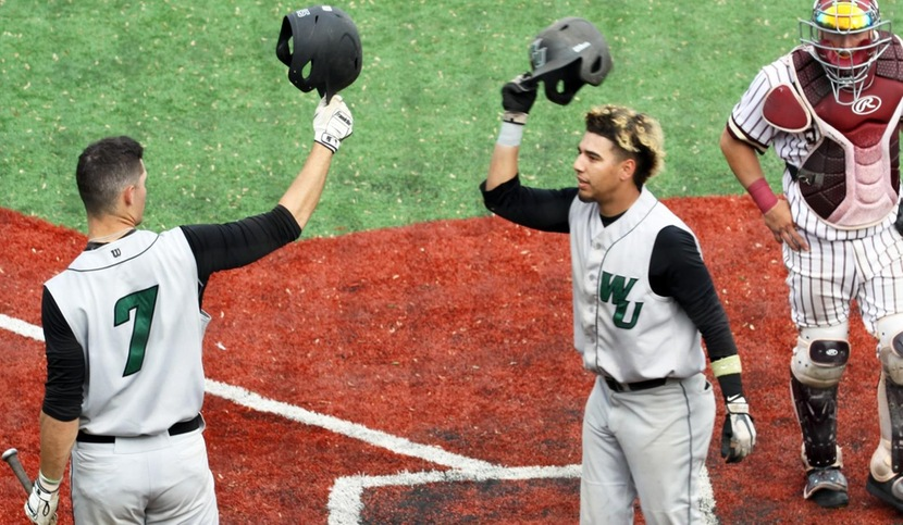 Copyright 2018; Wilmington University. All rights reserved. Photo following Christian Adorno's solo home run in the seventh inning. Photo by Dan Lauletta. May 17, 2018 vs. St. Thomas Aquinas in NCAA Regional.