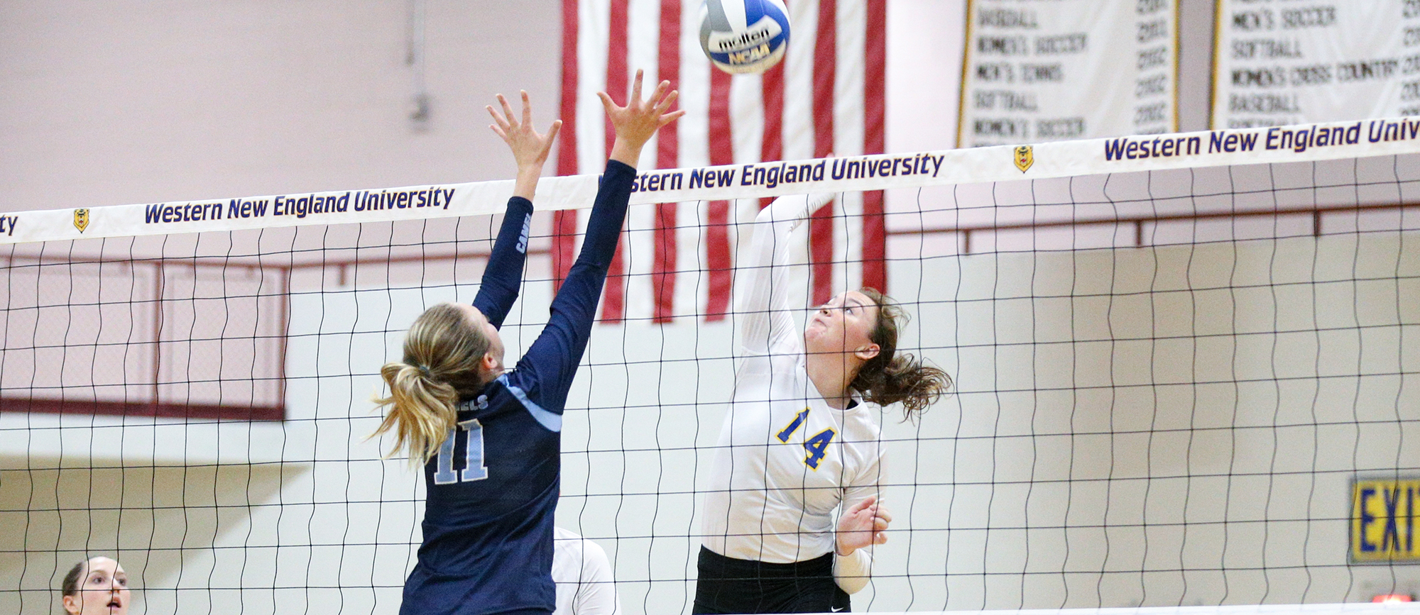 Senior Jenna Ferguson recorded a career-high 17 kills in Western New England's 3-1 win at UNE on Saturday. (Photo by Chris Marion)