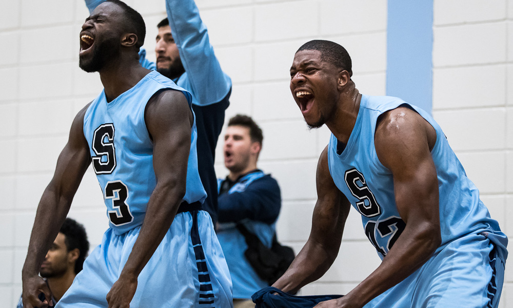 Men's basketball cap unbeaten regular season with wins over Lambton, St. Clair
