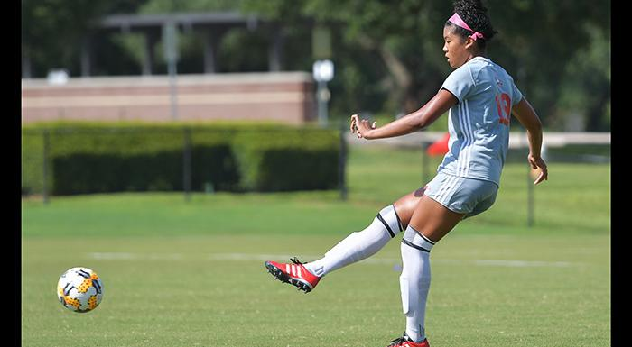 Alexa Gernand had two assists as the Eagles beat St. Louis CC 3-1 for their first victory of the season. (Photo by Tom Hagerty, Polk State.)