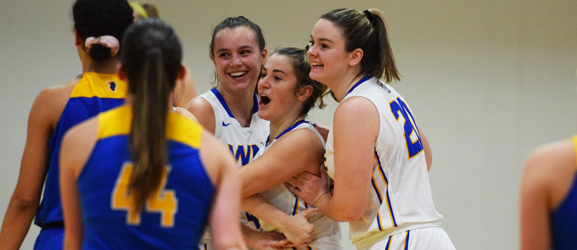 Western New England defeated Worcester State for the third time in the last four seasons on Lauren Chadwick's (middle) clutch jumper. (Photo by Rachael Margossian)