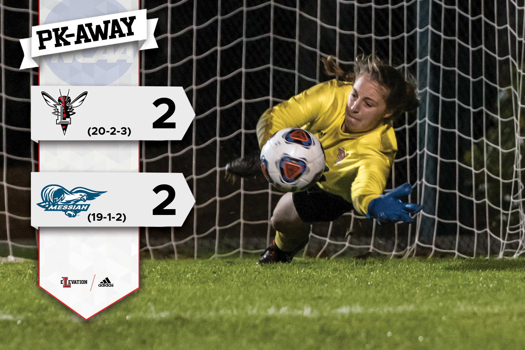 Delia LoSapio dives to make a save. Graphic on left showing 2-2 final score with team logos.