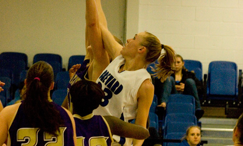 Amanda Whitaker goes for 16 and eight against the Crusaders on Saturday afternoon