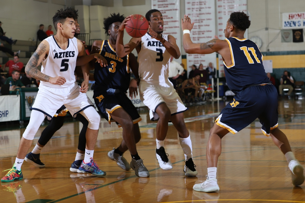 Sophomore Keven Biggs (Cienega HS) found his game on Wednesday with 34 points on 12 for 21 shooting and 9 for 16 from three-point range. The Aztecs advanced to their first NJCAA Division II Final Four in program history after beating Highland Community College 103-88. Photo courtesy of NJCAA