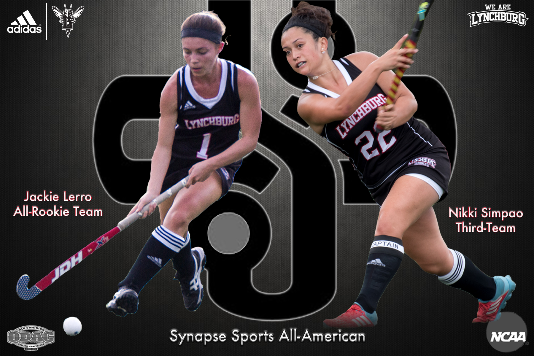 Graphic showing Jackie Lerro and Nikki Simpao atop the Synapse Sports logo. Text: Synapse Sports All-Americans