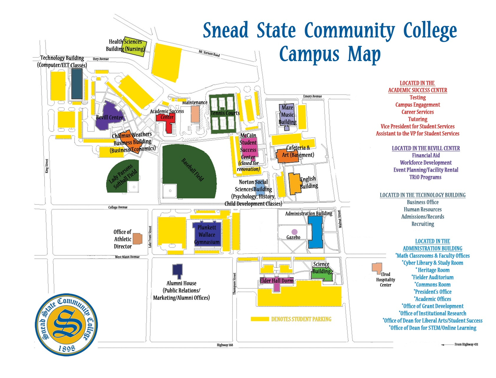 Campus map displaying athletic fields and facilities, along with campus buildings, at Snead State Community College.